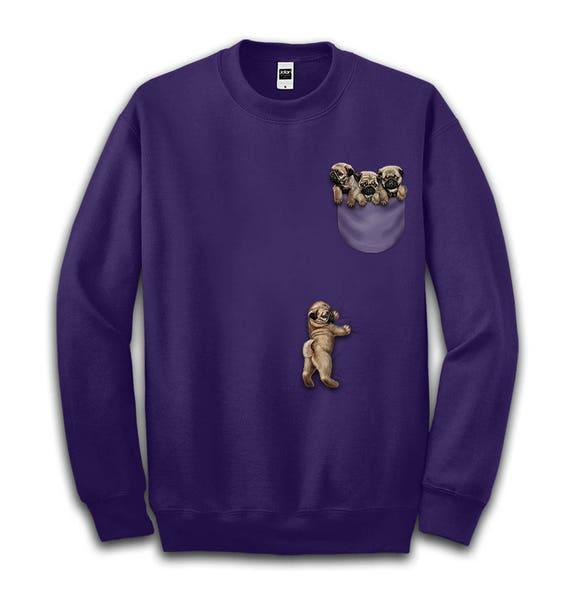 Cute Baby Red Fox Playing, Climbing Pocket – Men, Women, Kids French Terry Sweat Shirt, Graphic Pullover Sweater, Sweatshirt