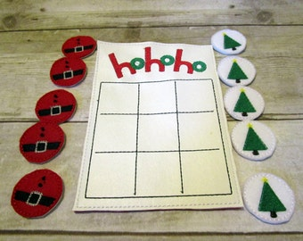 Christmas Ho Ho Ho Tic Tac Toe Game, Kids Game, Christmas Tic Tac Toe Game, Holiday Gift, Travel Game, Stocking Stuffer, CPSC Compliant