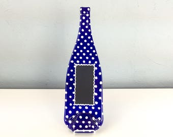 Imperfect Chalkboard Cobalt Blue Glass Melted Wine Bottle Cheese Tray with Polka Dots, Wall Hanging, Spoon Rest