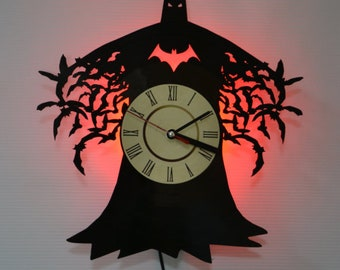Batman Arkham City Led Night Light (Red) - Vinyl Record Wall Clock - Original Home Decor - Wall Decor - Perfect Gift for Teens and Youth