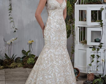 Wedding dress wedding dress bridal gown LIANA mermaid powder ivory