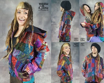 PATCHWORK JACKET Colourful Hippy Pixie Psytrance Festival UNISEX One Size Summer