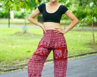 Marble Elephants Print Thai Pants, Rayon Pants, Boho Strenchy Pants, Elastic Waist Clothing Beach Women Baggy Casual Red Color BR36001