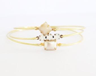 Neutrals Bangle Set, Set Stone Bangles, Gem Stone Bangles, Bridal Bracelets, Stackable Bracelets, Wedding Bracelets