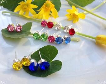 Earrings with zircon, Earrings with crystal, stud earrings, Cubic zircon AAA, Yellow earrings, Red earrings, Set of earrings, Blue earrings