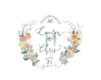 Custom Watercolor Wedding Crest