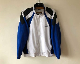 Vintage White ADIDAS Jacket Running Adidas Track Jacket Jogging Parka Aerobics Jacket Hipster Sport Coat Blue Three Stripes Size Medium