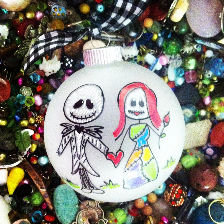 Jack und Sally Alptraum Christbaumkugel gerade geheiratet