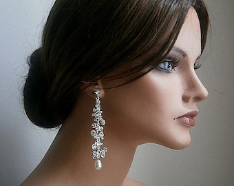 Bridal Chandelier Earrings Modern Wedding Crystal And Cream Pearls Bridal Earrings SALE