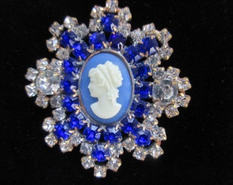 Victorian Style Cameo Czech Rhinestone Glass Button Crystal Shades of Blue