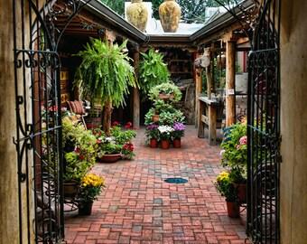 Santa Fe Photograph - Into the Courtyard - Fine art travel photography - Southwest Door art - Wall art, Corporate art - wrought iron gate