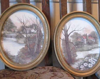 Pictures, Framed Pictures, Homco 1980's Pictures, Oval Framed Pictures, Set of 2 Homco Pictures
