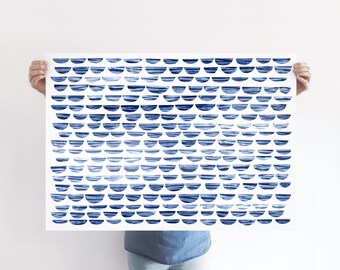 Shibori Waves A1 Art Print, Abstract Blue Ocean Poster, Abstract Blue Sea, Large Print, Extra Large Wall Art, Kids Room Decor