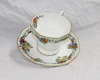 Foley Tea Cup and Saucer Set - Demitasse Espresso Set - Pattern V2550 - England Bone China - Vintage 1950s