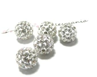 10 pearls 8mm silver-white shambala
