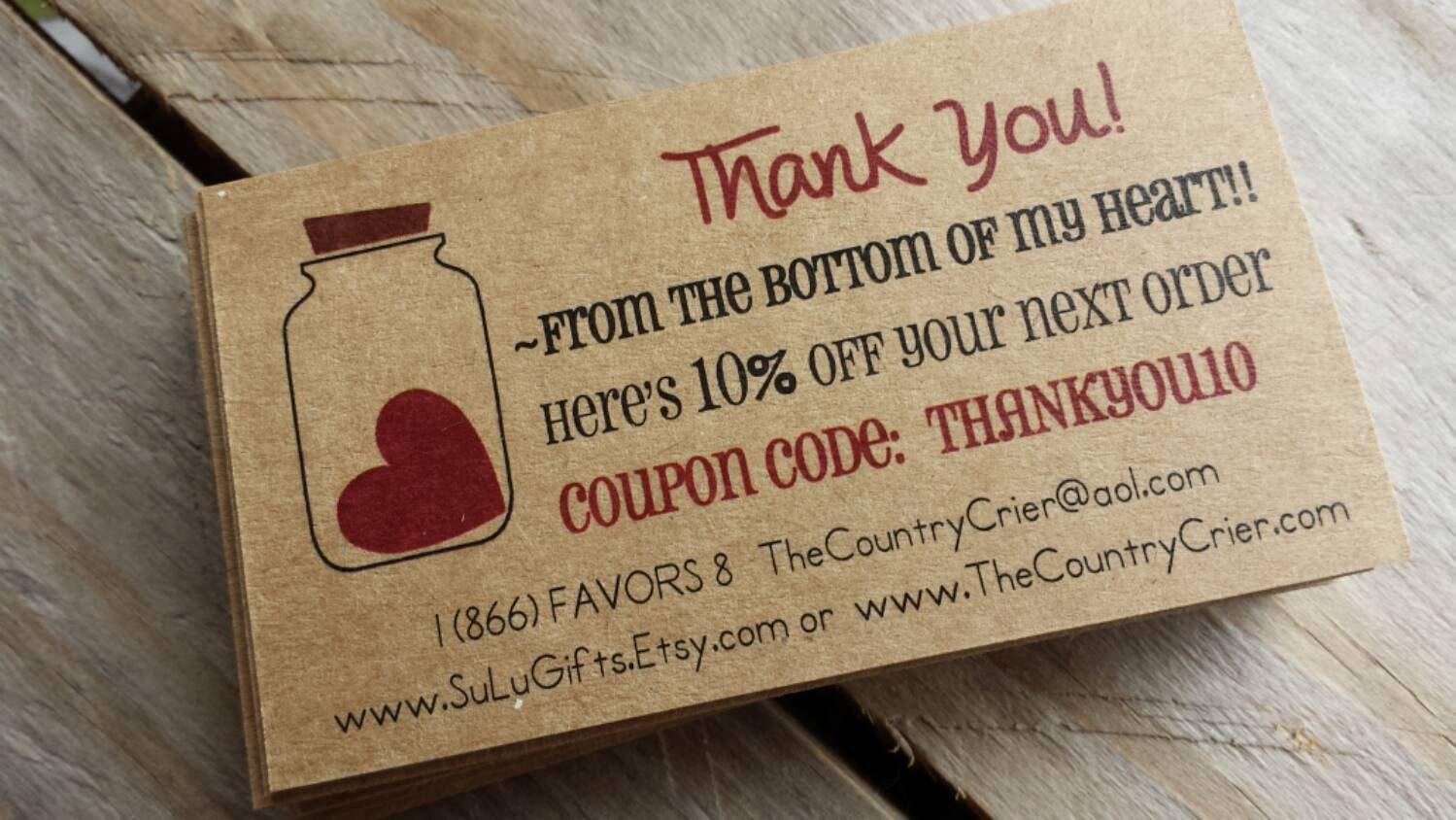 Custom Thank You for the order Cards Inserts Promo Coupon