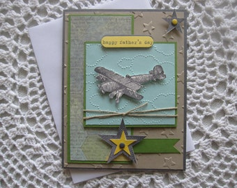 Handmade Greeting Card: Father's Day (Airplane/Traveler Theme)
