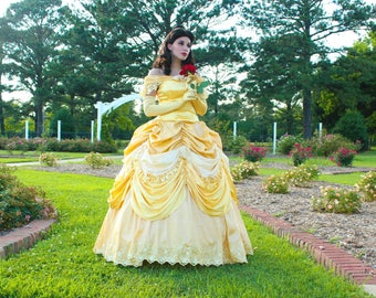 Deluxe Belle Beauty And The Beast Custom Made Cosplay Costume Gown