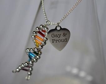 Biolojewelry - Rainbow Pride DNA Double Helix Strand Charm Necklace