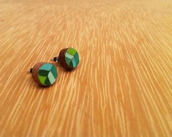 Hand Painted Earrings / Geometric jewellery / Green stud earrings  / Stripped design