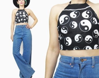 Yin Yang Halter Top Black & White Crop Top Raver Summer Festival Backless Tank Top Cotton Bralette (XS/S)