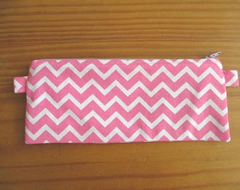 Pink chevron pencil pouch