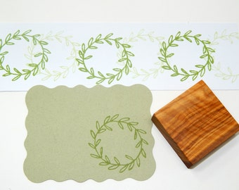 Basic Olive Wreath Olive Wood Stamp