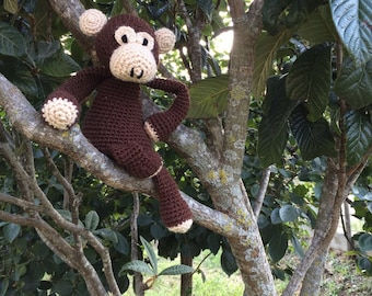 Monkey plush-Monkey gift Baby-Monkey Amigurumi-Monkey soft toy-wool monkey toy handmade