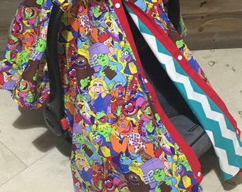 Muppets car seat canopy, muppet babies carseat cover, baby shower gift, baby boy, baby girl