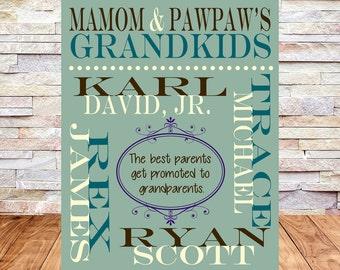 Grandparents Gift, Grandkids Dates, Grandchildren, Grandparent Anniversary Gift, Grandma, Grandpa, Grandmother, Grandfather
