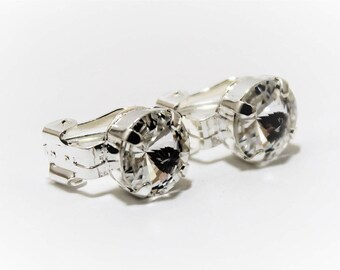 Clear Rivoli 10mm Clip On Earrings made with Swarovski Crystal Elements by LadyCJewellery