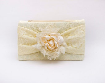 Bridal clutch Bridesmaid clutch ,White  ,creme  lace  with bow, lace clutch and flower ,bridesmaid gift ,wedding gift -COLOR OPTION AVIABLE