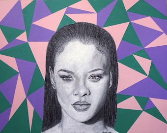 Rihanna Black Charcoal Print