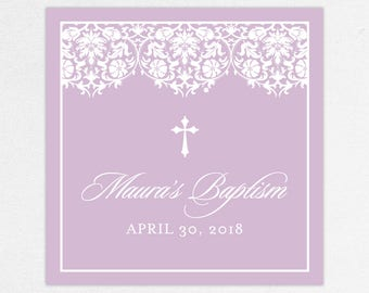 Baptism Favor Tag, Baptism Favor Label, Christening Favor Tag, Christening Favor Label, Printed, Floral, Damask, Lace, Girl, Purple, Maura