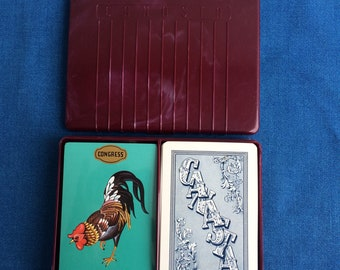 Vintage Canasta Playing Cards with Livingston Plastics Box Sealed Congress 50's Home, Apartment Decor