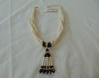 vintage nwt marvella jet clear pearls tassel necklace bridal wedding dressy sparkling