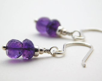 Amethyst and Sterling Silver Earrings, February Birthstone Earrings, Gemstone Earrings, Purple Earrings, Birthday Gift, UK Jewellery