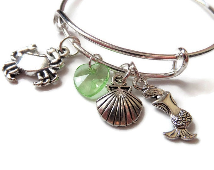 LITTLE MERMAID - PRINCESS inspired silver 4 charm bangle / bracelet - xmas - jewellery - party bag favours