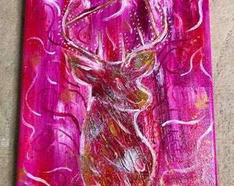 "Original Pink Stag Abstract Painting, Canvas Acrylic Painting, A4 Size (9""x12""), Acrylic and Glitter pink"