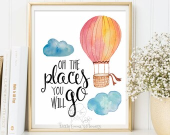 Oh the places you'll go print, nursery wall art, teen room decor, balloon print, kids wall decor, positive art print, typographic quote 2-64