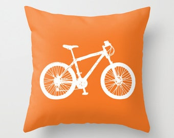 Mountain Bike Pillow Cover - Graphic Novelty Throw Pillow - Sports Bicycle Decorative Pillow Cover -  Modern Home Decor - includes insert