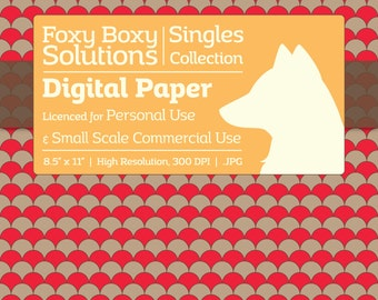 Scale Pattern on Kraft Digital Paper - Single Sheet in Red - Printable Scrapbooking Paper