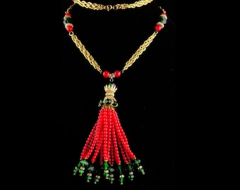 Exotic Flapper Necklace - red Gypsy jewelry - beaded tassel - statement necklace - gold Egyptian chandelier necklace - rhinestone tassel