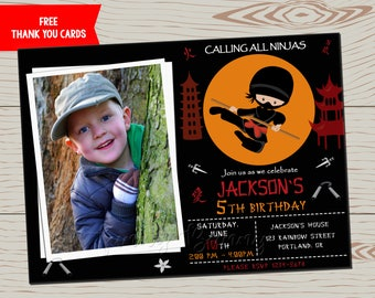 Photo Ninja birthday invitation Ninja invitation Karate invitation Ninja party favors First birthday outfit Samurai warrior invite printable