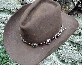 WESTERN HAT BAND Brown Leather w 10 Nickel Conchos