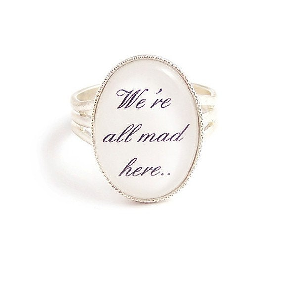 LunarraStar Alice in Wonderland Brooch We're All Mad Here Cheshire cat silver Mad tea party lM6zAhj