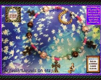Art Jewel Choker Necklace with Icon Crosses - Handmade Jewelry