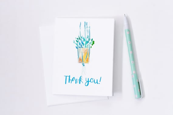 thank you card hanging plant card indoor plants greeting