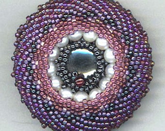 Beadwoven Brooch . Hematite . Pearls . Peyote . Seed Beads . Beadwork . Purple Lavender Amethyst - Magical Time by enchantedbeads on Etsy