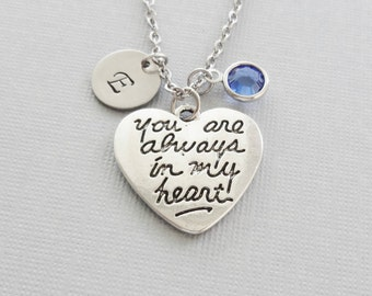 You Are Always In My Heart Necklace, Silver Heart Jewelry, Valentines Day, Swarovski Birthstone, Personalized Monogram, Hand Stamped Initial
